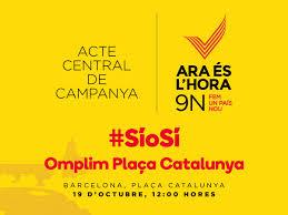 El 9 d'octubre a la plaça de Catlunya Barcelona